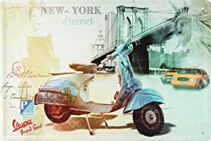 Amazon.com: Blue Piaggio Vespa @ New York, Metal Tin Sign