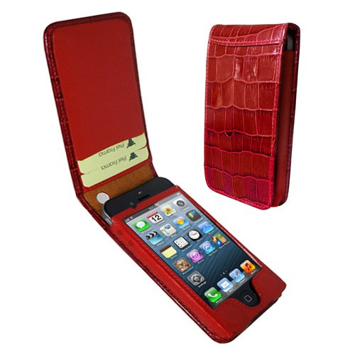 Best Price Apple iPhone 5 / 5S Piel Frama Red Crocodile Magnetic Leather Cover