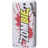 HTC Desire 610 Case - White Hard Plastic (PC) Cover with Zombies Eat Flesh Design