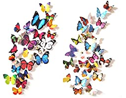 Prefer Green 3D Colorful Butterfly Wall Stickers DIY Art Decor Crafts (Pack of 4 Items ABCD Total 80 Pcs)