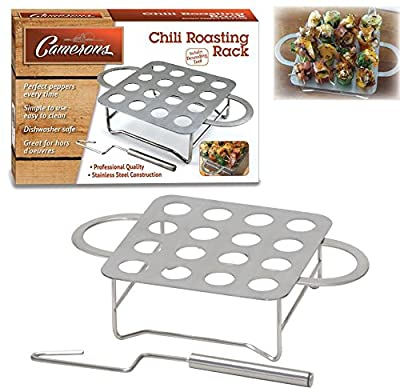 Chili Pepper Rack - Stainless Steel Jalapeno Chile Pepper Roaster with Seeder and Recipes