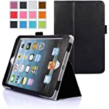 iPad Mini Case, Maxboost iPad Mini / iPad Mini Retina / iPad Mini 3 PU Leather Book Folio Style and Stand Cover Case [Black]  - Premium Slim Protective Leather Flip Case Foilo Style Builds with Multi-Angle Stand, Stylus Holder and Hand Holding Strap (Compatible to Apple iPad Mini [1st Gen], Apple iPad Mini 2 with Retina Display [2nd Gen] and iPad Mini 3 [3rd Gen])