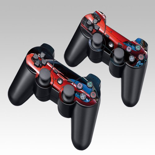Red RAC Design Skin Decal Sticker for the PS3 Playstation 3 Controller 2pcs in 1
