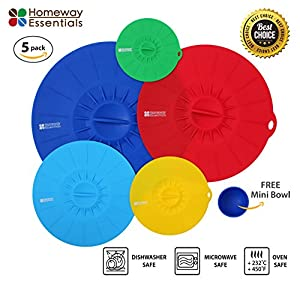Homeway Essentials Silicone Suction Lids Set - 5 Food Covers, Microwave Cover, Bowl Covers, Reusable Lids, Covers fit various size pots and containers