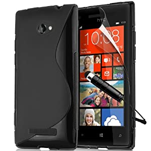 HTC 8X Windows Phone TPU Wave Hydro Gel Case Cover Includes Screen Protector, Touch Screen Stylus And Polishing Cloth