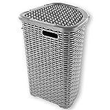Wäschekorb in Rattan Optik 52 Liter -atmungsaktiv- mit offen gestalteter