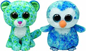 Ty Beanie Boos Ice Cube the Penguin and Leona the Blue Leopard Set of 2 friends