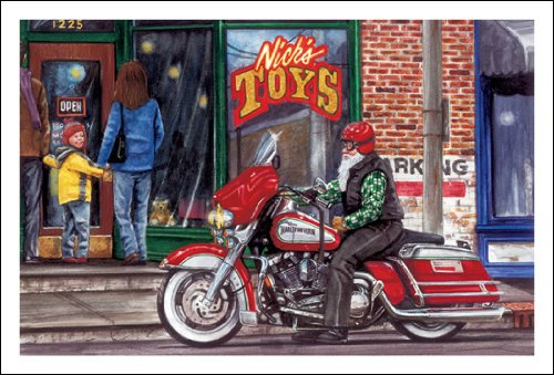 Harley Davidson Christmas Cards, Harley In Front of Nick's Toys, Pack of 10 with envelopes