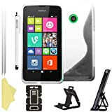 BAAS® Nokia Lumia 530 - Stylish S Line Gel Case Cover , Touch Screen Stylus Pen , 2X Screen Protector Guard & Desktop Stand