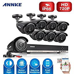 [Upgaded 960P] Annke 8CH 1080N CCTV DVR Recorder w/ 8x 1.3MP(960P) Superior Night Vision Outdoor Fixed Cameras, IP66 Weatherproof, QR Code Easy Setup, Smartphone Quick Remote Access-NO HDD