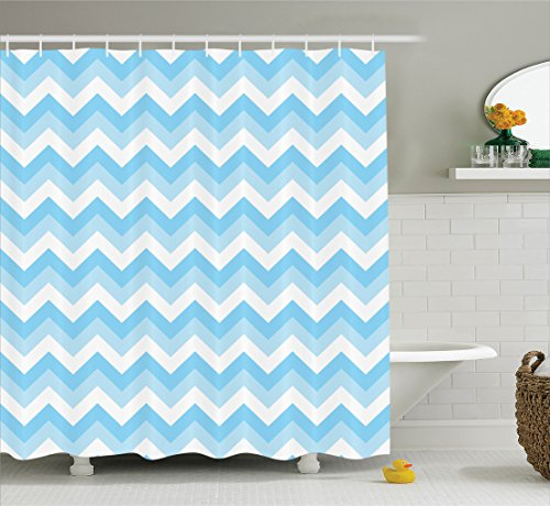 Ambesonne Chevron Decor Collection, Zig Zag Pattern and Sea Aqua Colors Classical Antique Artwork Illustration Image, Polyester Fabric Bathroom Shower Curtain Set, 75 Inches Long, Blue Aqua White