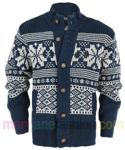 Mens Nordic Fairisle Vintage Print Chunky Knitted Jumper Cardigan M New Navy
