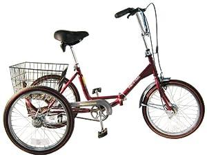 Worksman Port-o-Trike Three Speed Adult Tricycle Cranberry by Worksman