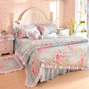 ... Flower Print Bed Set,Lace Ruffle Duvet Cover Set,Rustic Bedding,Twin