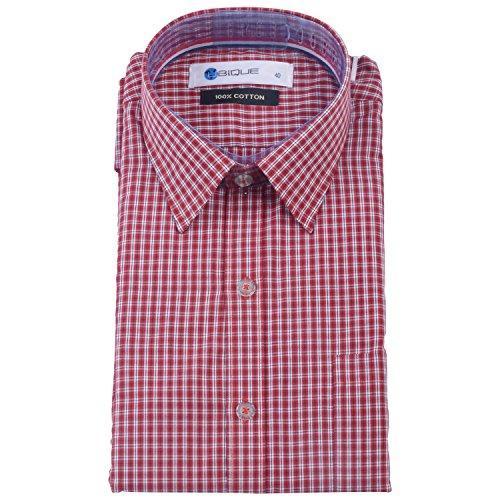 Red Ubique Mens Cotton Formal Shirt -Red, Black & White -40 (LME008) (Multicolor)