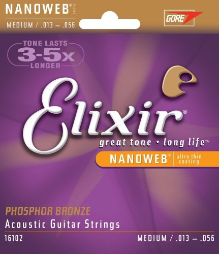 Elixir Strings Acoustic Phosphor Bronze Strings NANOWEB Coating, 6-String, Medium