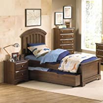Hot Sale Standard Furniture Parker 3 Piece Kids Panel Bedroom Set W/ Trundle In Golden Brown Cherry