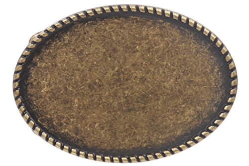 BELTISCOOL Western Plain Oval hammered Vintage Belt Buckle Color: Antique Brass