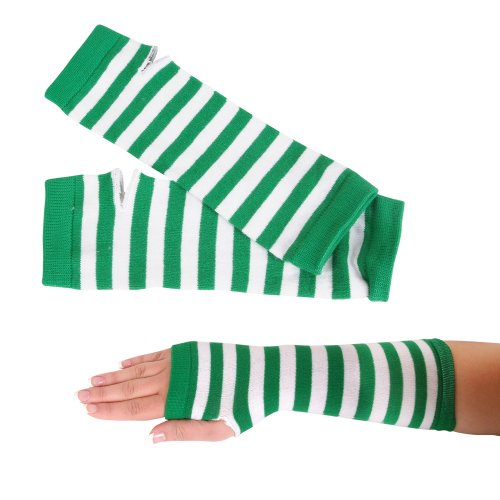 St Patricks Day Green and White Striped Pair of Arm Warmers