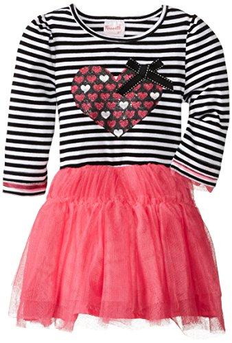 Nannette Little Girls' Glitter Heart Tutu Dress, Rose Azalea, 4T