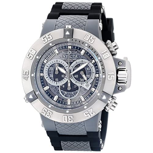Invicta Subaqua Men's Quartz Watch with Grey Dial Chronograph Display and Black PU Strap 0927
