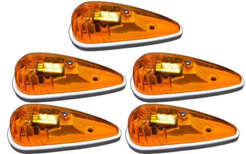 5 Pack of Amber Truck / RV Cab Marker Lights - Teardrop Shape (Teardrop Cab Lights compare prices)
