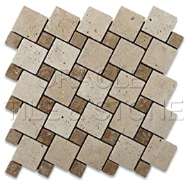 Ivory & Noce Travertine Tumbled Tic-Tac Mosaic Tile