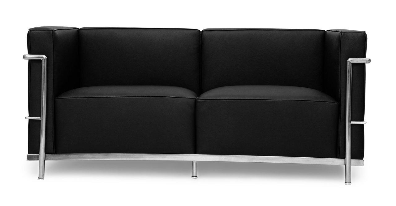 Kardiel Le Corbusier Style LC3 Loveseat - Black Genuine Leather