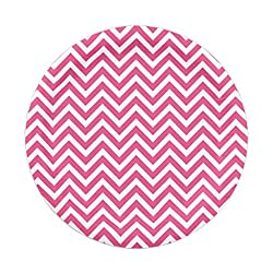 PrettyurParty Chevron Paper Plates (Pack of 10) - Dark Pink