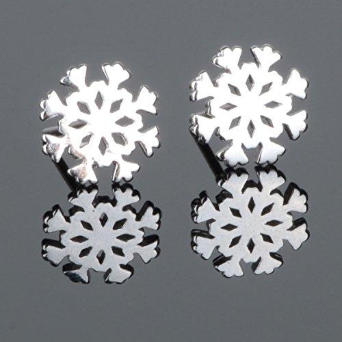 2Pcs Shiny Snowflake-Shaped 925 Sterling Silver Stud Earrings Silver By Preciastore