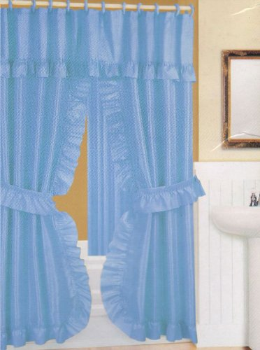 Blue Fabric Double Swag Shower Curtain With Matching Covered Rings Hooks And Vinyl Liner