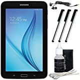 "Samsung Galaxy Tab E Lite 7.0"" 8GB (Wi-Fi) Black Accessory Bundle includes Tablet, Cleaning Kit, 3 Stylus Pens and Metal Ear Buds"