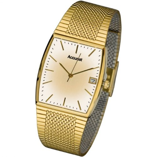 Accurist Men's Gold Tone Mesh Bracelet Watch Mb847G