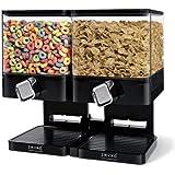 Zevro KCH-06134 Control Double Compact Edition Dry Food Dispenser, Black/Chrome