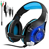 Gaming Headset for PS4 PSP Xbox one Tablet iPhone Ipad Samsung Smartphone, SENHAI Led Light GM-1 Headphone with Adapter Cable for PC (Black+Blue)
