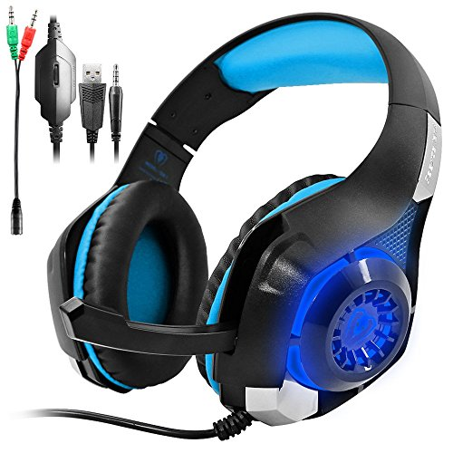 Gaming Headset for PS4 PSP Xbox one, SENHAI Led Light GM-1 Headphone with Microphone and Free Adapter Cable (Black+Blue,With Original Package, Perfect for Gift) (Iphone Headphones Old Version compare prices)