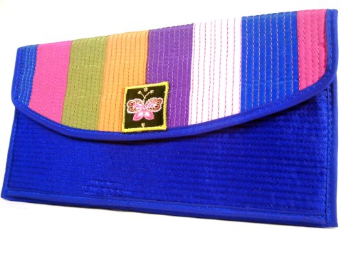 Wallet by WiseGloves Rainbow Blue Fabric Wallet Bag Clutch Purse Tote Handbag