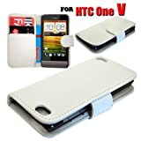HTC One V Various Colour Smart Flip Wallet Pu Leather Phone Case Cover by eFeel (White)
