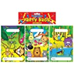 Pack Of 12 Jungle Party Bags 15x22cm...