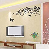 UberLyfe Black Flower Vine Wall Sticker (Wall Covering Area: 90cm x 150cm)