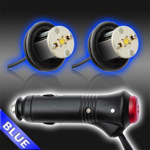 Blue 2Pc 4Watt High Power Led Emergency Strobe Flash Light Kit 20 Flash Modes With Memory Function -Universal 12V