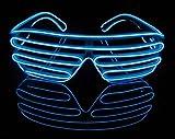 Amazon.co.jp【イー・フランク】EL サングラス 光る LED メガネ ワイヤー  電池ボックス付きパーティーダンスコスプレ光るアイテム衣装 仮装 選べる 4色 (ブルー)
