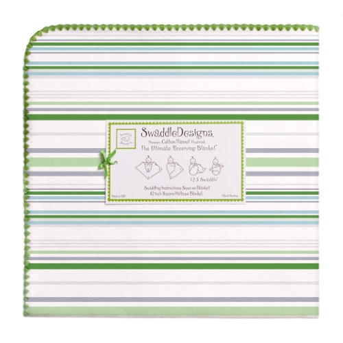SwaddleDesigns Ultimate Receiving Blanket, Jewel Tone Stripes, Pure Green