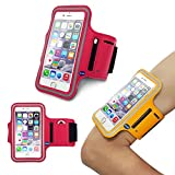 iPhone 6 (4.7 Inch) Sports Armband Case Cover,Nika shop Easy Fitting Sports Universal Armband With Build In Screen Protect Case Cover Running band Stylish Reflective Walking Exercise Mount Sports Sports Rain-proof Universal Armband Case with Key Holder Pocket + Free Screen Protect For Apple iphone6 4.7 inch Verizon, AT&T Sprint, T-mobile, Unlocked(Not Fit iPhone 6 Plus 5.5 inch) (Nika shop-Red)