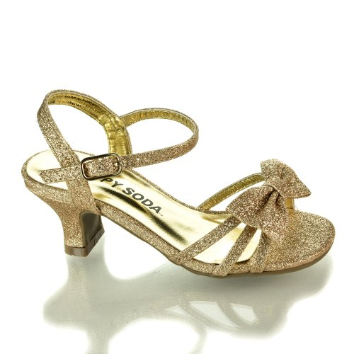 Girlyii Gold Glt Children'S Open Toe Bow Slingback Small Block Heel Sandals-9 front-153672