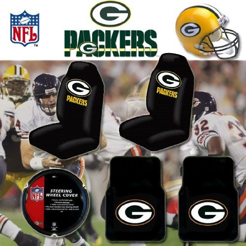 nfl green bay packers car seat covers floor mats and steering wheel cover set with bonus cd. Black Bedroom Furniture Sets. Home Design Ideas