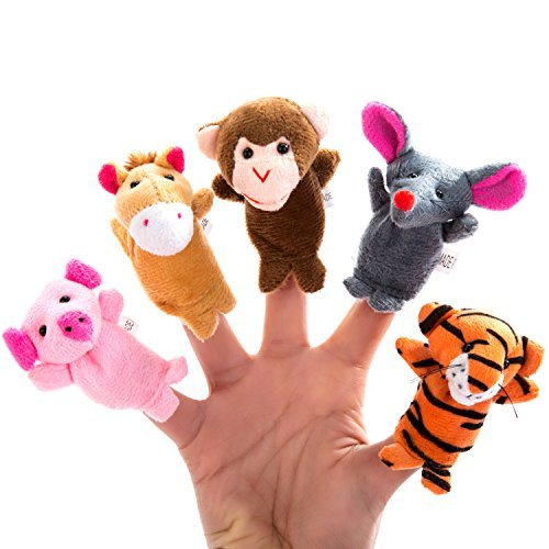 Better-line--20-Piece-Story-Time-Finger-Puppets-Set-Cloth-Puppets-with-14-Animals-Plus-6-People-Family-Members