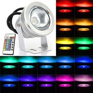 Projecteur spot rgb 10w led etanche exterieur lumiere for Luminaire exterieur telecommande
