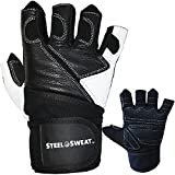 Steel Sweat Weightlifting Gloves with Wrist Wrap Support for Workout, Gym, Fitness Training and CrossFit - Made for Men and Women who love Weight lifting - Leather Large