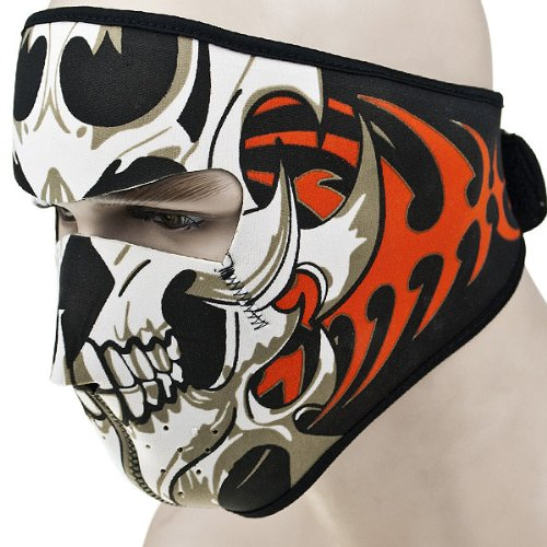 2 In 1 Reversible Windproof Black Tribal Classic Skull Neoprene Half Face Mask Facemask Headwear Motorcycle ATV Biker Bike Cycling